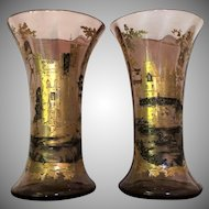 MOSER c.1885 Vase Gold Silver Enameled Bohemian