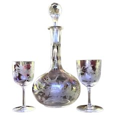 c.1870-80  Cut Decanter ENGRAVED Wine Sherry Cordial Set