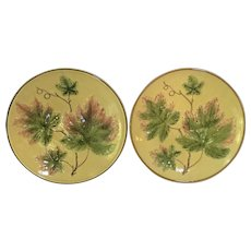 """TWO c.1910 11 1/4"""" Charger Majolica Germany Zell"""