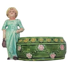 French Majolica Girl Planter c.1900's Vase
