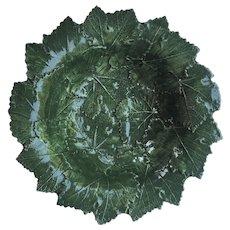 "14"" Italian Bassano Majolica Serving Bowl Green Grape Leaves"