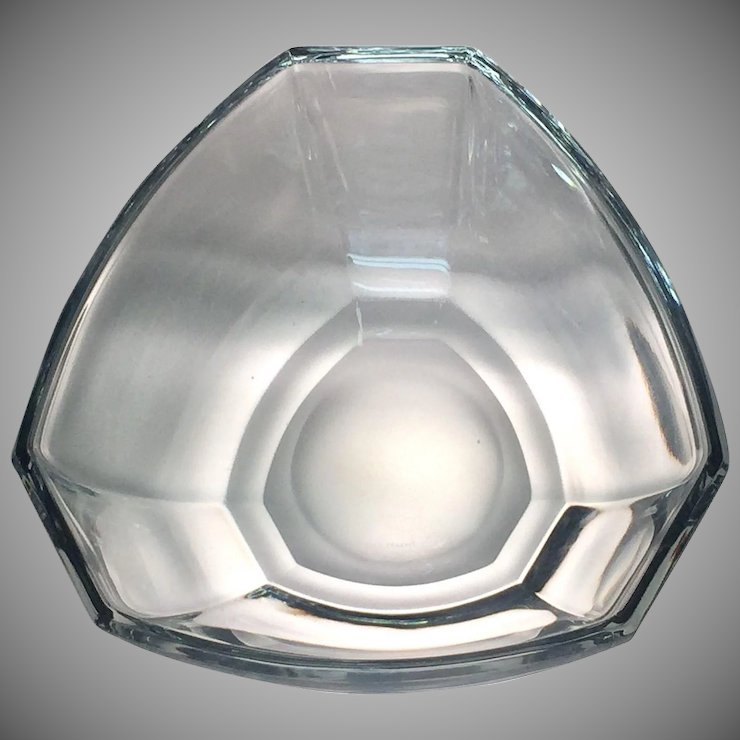 Tiffany And Co Bowl Crystal Six Panel Pattern Glass Lovers