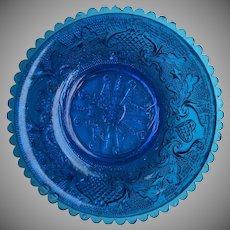 Boston Sandwich Lacy Period Blue EAPG Flint Plate AUTHENTIC Nappie