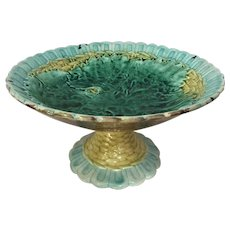 """9 1/4"""" Majolica Compote Basketweave Begonia Leaf Early 1900's GORGEOUS"""