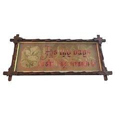 c.1899 Victorian Bible Sampler Black Forest Frame CARVED