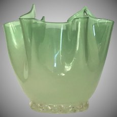 Murano Venetian Handkerchief Vase Italy 1950's Delicate Translucent