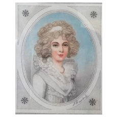 SIGNED Stipple Engraving L. Dupont Miniature Portrait The Marchioness of Salisbury c.1800's