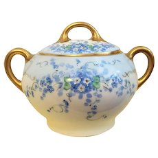 c.1880's  Zeh Scherzer Z S and C Bavarian Porcelain Sugar Bowl w/ Cover Gold Forget Me Nots