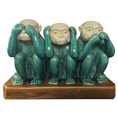 """12""""x 9"""" 1960's Ceramic Studio Art Monkey Statue See No Evil"""