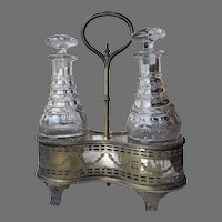 1831-1855 English Thomas Bradbury and Son FOUR RING Decanter Port Wine Caddy Silver Plate Anglo Cut Glass