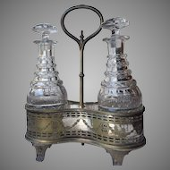 1831-1855 English Thomas Bradbury and Son FOUR RINGS Port Wine Caddy Silver Plate Anglo Cut Glass Decanter