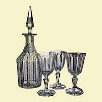 c.1850 Steeple Decanter ENGRAVED Cut Glass w/3 glasses