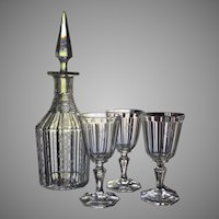 c.1850 Steeple Decanter Glasses ENGRAVED Cut Glass