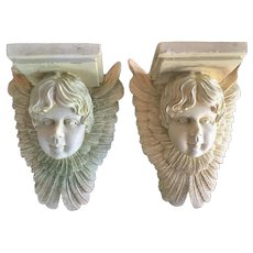 Vintage PAIR  Baroque Cherub Angel Wings Wall Shelf Sconce Plaque