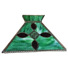 1920's Slag Copper Leaded Glass Panel Table Lamp - Lamp Shade -- Prairie Mission Style  - Arts and Crafts Movement