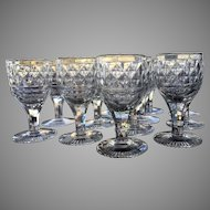 c.1810 Georgian Cordial Sherry CUT GLASS Anglo Irish Set-12 Diamond Pattern