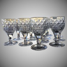 c.1810 Georgian Cordial Sherry CUT GLASS Anglo Irish Set-12 Diamond Pattern