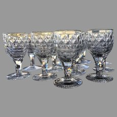 RARE c.1810 Georgian Cordial Sherry CUT GLASS Anglo Irish Set-12 Diamond Pattern