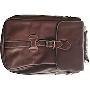 """Vintage LEATHER Double Wine Carrier Satchel Tote NEVER USED """"New"""""""