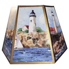 35+ yrs. old Vintage Lamp Shade Nautical Coastal Lighthouse Seashore