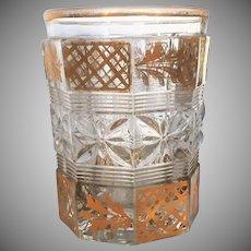 c.1840-60 Tumbler Free Blown Molded Indented Polished Pontil Gold Gilt