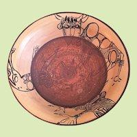 "14 lbs African Safari Modernist Ceramic Studio Art Bowl 21"" x 6"" SIGNED"
