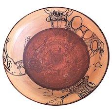 "14 lbs African Safari Modernist Ceramic Studio Art Bowl ARTIST SIGNED 21"" x 6"""