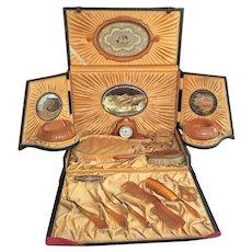 Victorian Ladies Travel Vanity Set ORIGINAL CASE 22K gold Pyramid Amber Tone Bakelite Celluloid