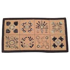 "4'11""x2'7"" Wool Rug Hand Hooked 1940-50"