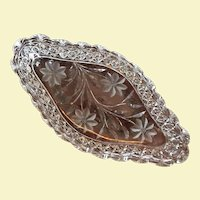 "C.1910 14""x7"" Ice Cream Tray Persian Russian Pattern Cut Glass Crystal American Brilliant - Crystal Clear"