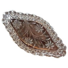 "C.1910 14""x7"" Ice Cream Tray Persian Russian Pattern Cut Glass Crystal American Brilliant - Crystal Clear"