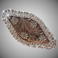 "C.1910 14""x7"" Ice Cream Tray Persian Russian Pattern Cut Glass Crystal"