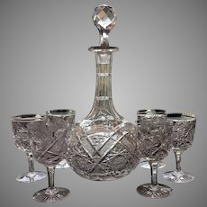 c.1880's Decanter Six Glasses SUPERB Cut Glass Cut Crystal