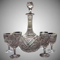 c.1880's Decanter Six Glasses SUPERB Cut Glass Cut Crystal