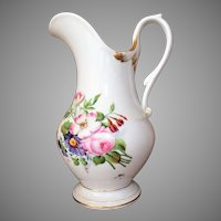 """EX LG 12""""  French Porcelain Pitcher c.1850-80 Hand Painted  STUNNING"""