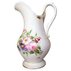 "Rare EX LG 12"" William Ellis Tucker Pitcher 1830's Hand Painted Porcelain American"