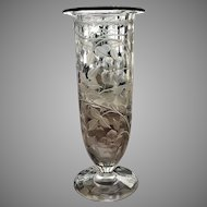 "1910-20 Engraved Cylinder Vase 12""x 5"" OUTSTANDING"