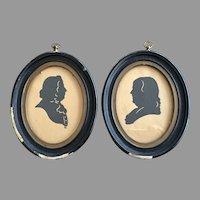 1830's Benjamin Franklin / John Quincy Adams Cut Paper Silhouette Portrait ORIGINAL FRAMES