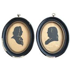 Pair Benjamin Franklin / John Quincy Adams 1830's Silhouette Portrait ORIGINAL FRAMES