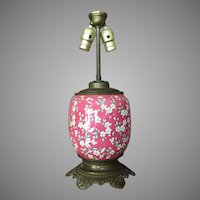Victorian Banquet Kerosene Lamp Oil Lamp POTTERY BASE.. Hand Painted