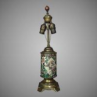 c.1900 French Longwy Lamp Faience Enameled Pottery