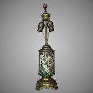 c.1900 French Longwy Lamp Faience Pottery
