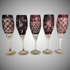 RARE Bohemian Ruby Cut to Clear Overlay Cut Glass Champagne Flute White Wine