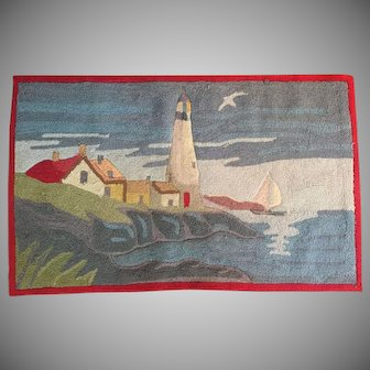 "1960's 32""x20"" Hooked Wool Rug VINTAGE Lighthouse Nautical Coastal 55 yrs. old"