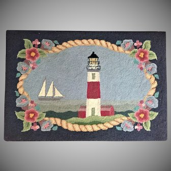 3'x2' Hooked Wool Rug Vintage Lighthouse Nautical Coastal Nantucket