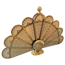 Victorian Brass Clam Shell Peacock Folding Fireplace Fan Screen