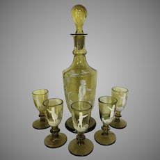 1880's Mary Gregory Decanter and Five Glasses RARE GREEN