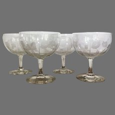 "Dorflinger Kalana Poppy Dessert Bowl Etched c.1910... 5 1/2""x 4 1/2"" - Kalana Pattern is Rare"