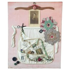 Folk Art Sampler Victorian Wall Hanging Woman Apron Photograph