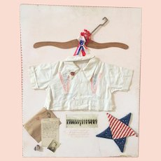 Folk Art Sampler WWI Wall Hanging Man Boy Shirt Photograph Letter Military Army
